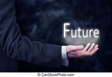 Future - A businessmans hand holding the word, Future.