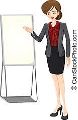 A businesswoman beside the empty board