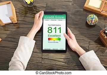 Businesswoman Checking Online Credit Score