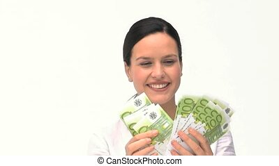 A businesswoman counting her money
