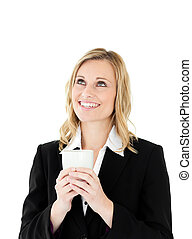 A businesswoman drinking coffee