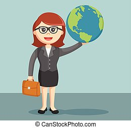 businesswoman holding the globe
