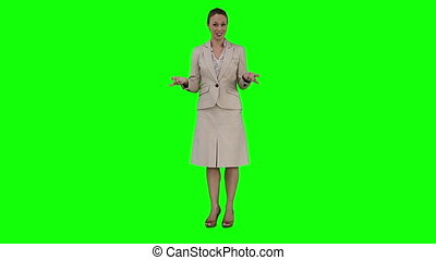 A businesswoman is giving a virtual presentation