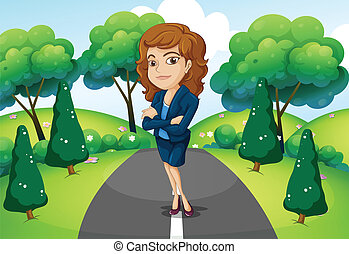 A businesswoman standing in the middle of the street