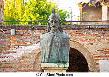 A bust of Vlad Tepes, Vlad the Impaler, the inspiration for Dracula, in the Old Princely Court, Curtea Veche, in Bucharest, Romania