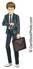 A Busy Businessman on White Background