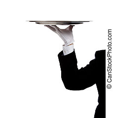 A butler\'s gloved hand holding a silver tray