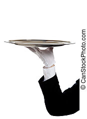 A butler's gloved hand holding a silver tray