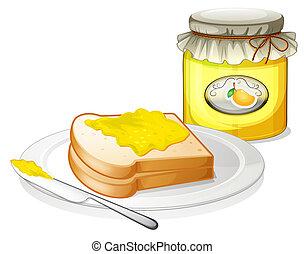 a, butterbrot, mit, a, mango, marmelade