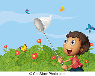 A butterfly catcher in the garden
