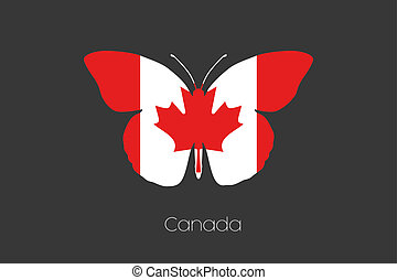 Butterfly with the flag of Canada