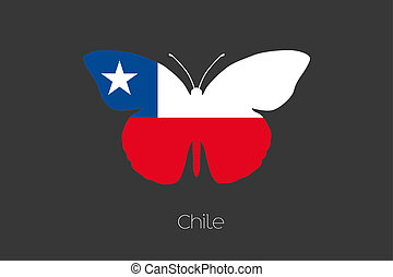 Butterfly with the flag of Chile