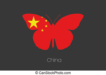 Butterfly with the flag of China