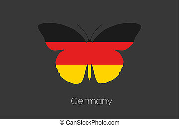 Butterfly with the flag of Germany