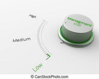 a Button show low risk level for businesse - A 3d made metal...