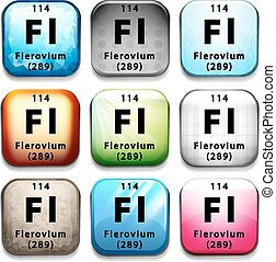 A button with the chemical Flerovium