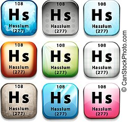 A button with the chemical Hassium