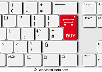 Buy online shopping concept PC computer keyboard illustration red