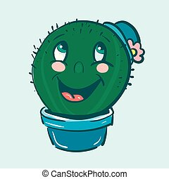 A cactus plant emoji with a blue hat is laughing with its mouth wide opened vector color drawing or illustration