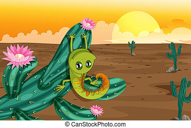 A cactus with lizard - Illustration of a cactus with lizard