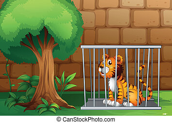 A cage with a tiger