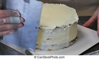 A cake from several layers. The end of the cooking, layered...