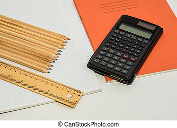 A calculator and some pencils