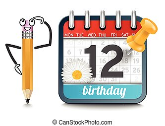 A calendar with a pencil and daisy flower birthday concept -...
