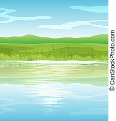 A calm blue lake - Illustration of a calm blue lake