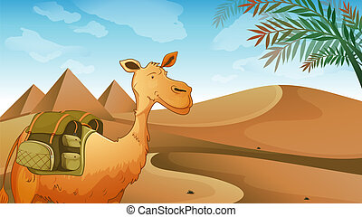 A camel at the desert - Illustration of a camel at the...