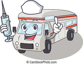 A campervan hospitable Nurse character with a syringe