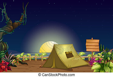 Illustration of a campsite
