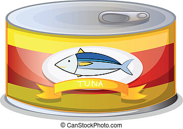 A can of tuna - Illustration of a can of tuna on a white...