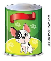 A can with a puppy