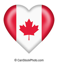 Canada heart button isolated on white with clipping path