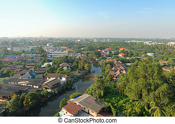 A Canal at sunrise in Bangkok, Thailand