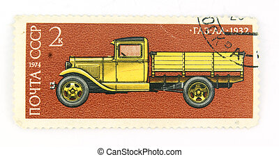 A cancelled stamp with a lorry