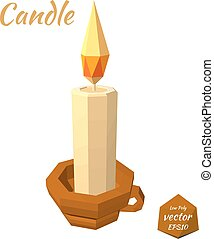 A candle in the cup isolated