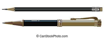 a, caneta esferográfica, e, lápis
