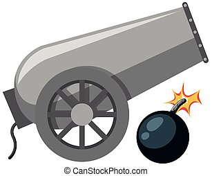 A cannon on white background