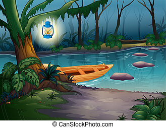 A canoe in a mysterious forest