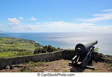 A canon facing the ocean at Brimstone Hill Fortress