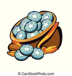 A canvas bag filled with gaming round chips with the image of a star isolated on a white background. The element of gambling. Cartoon vector close-up illustration.