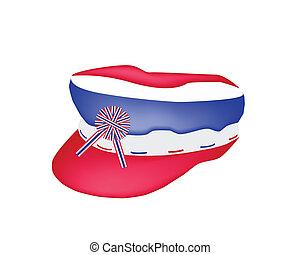 A Cap of Thai Flag on White Background