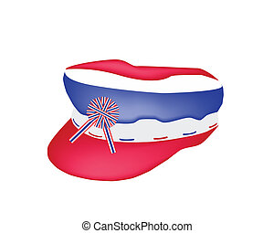 A Cap of Thai Flag on White Background