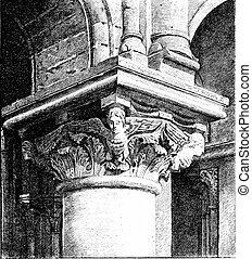 A capital of Saint-Julien-le-Pauvre, vintage engraving.