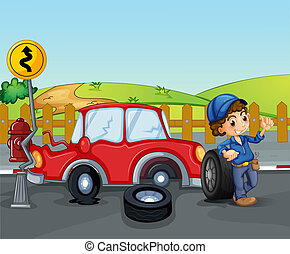 A car accident near the wooden fence - Illustration of a car...