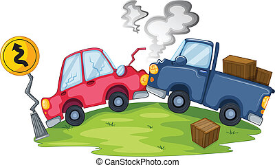 A car accident near the yellow signage - Illustration of a...