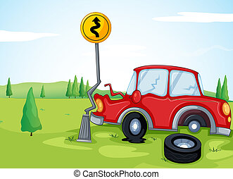 A car bumping the road sign