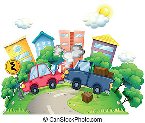 A car crash in the city - Illustration of a car crash in the...